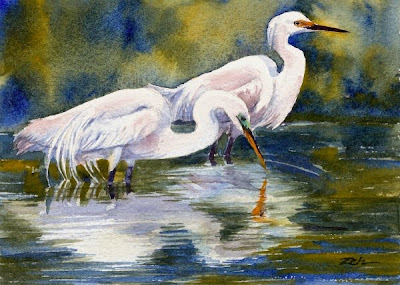 Herons - Great and Snowy Egrets watercolor painting