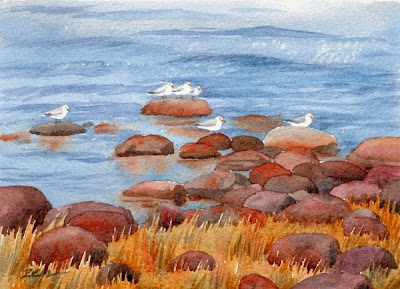 Maine Coast and seagulls watercolor seascape