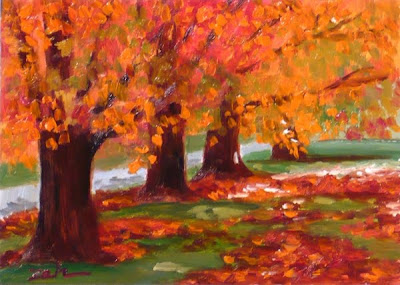 Maple Trees in Autumn oil painting