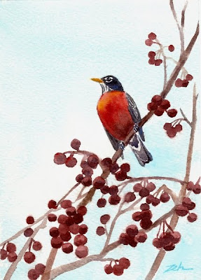 American Robin in a Crabapple Tree - watercolor painting