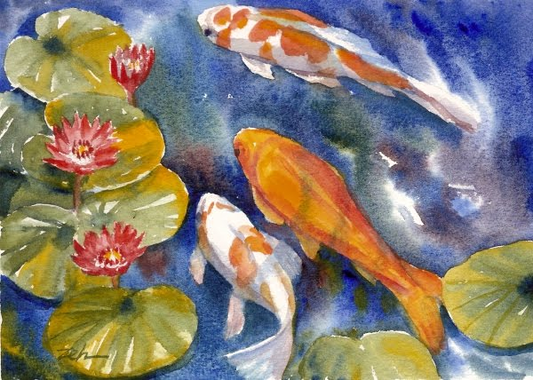 Zeh original art blog watercolor and oil paintings for Coy fish painting
