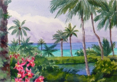 Coconut Island, Hawaii watercolor painting