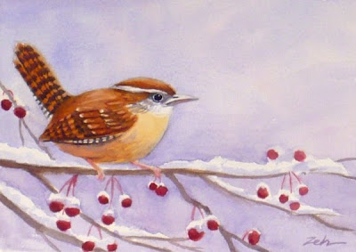 Carolina Wren on a Snowy Morning