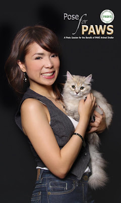 Soul siren, Nina, poses with Moony as representatives for feline lovers and in support of POSE FOR PAWS.