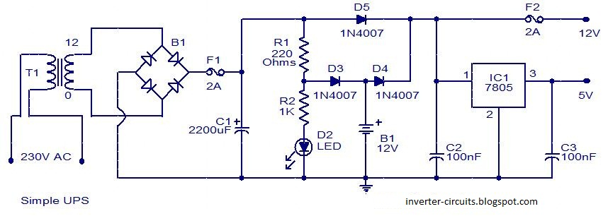Circuits    Diagram     Simple    UPS