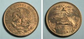 20 centavos mexicanos1973 - 20 centavos 1973 20C+1964