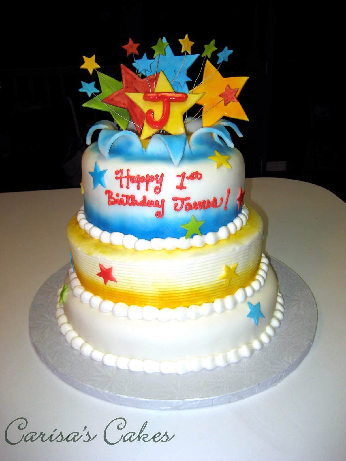 Carisas cakes jamess 1st birthday cake this cake was quite the challenge but i had lots of fun making it happy birthday sweet baby james thecheapjerseys Images