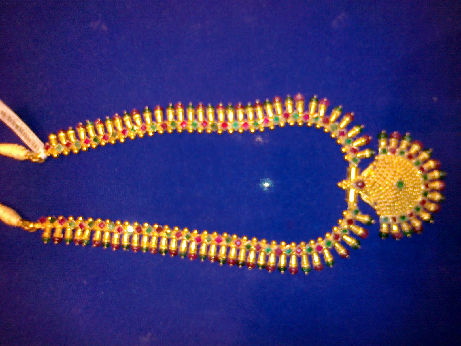 22 carat Gold and Ruby Long Chain (haram) - Jewellery Designs