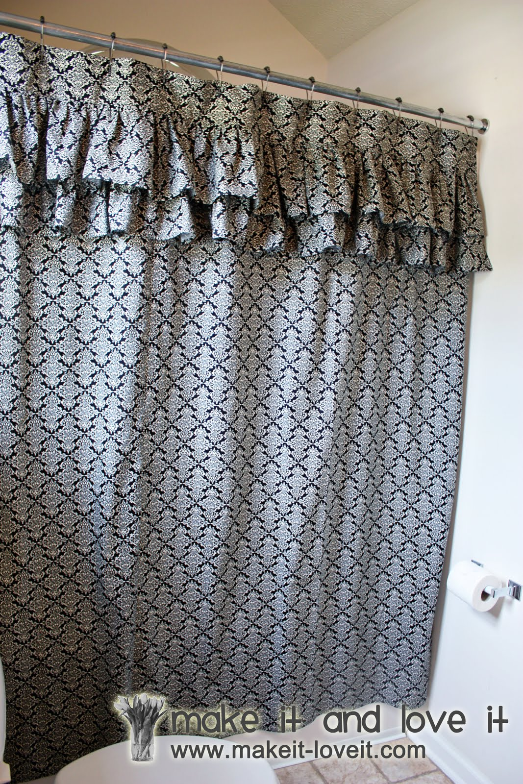 Ruffle shower curtain - Decorate My Home Part 17 Ruffled Shower Curtain