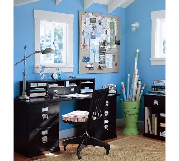 Small Home Office Design Ideas Blue