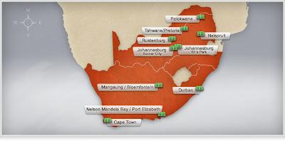 ubicacion de todos los estadios de sudafrica 2010