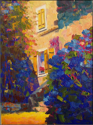 Paint Dance: Yellow Shutters And Blue Hydrangeas, Oil On Linen, Paintings  Of Europe, Garden Views, Paintings Of Gardens And Courtyards, Paintings Of  ...