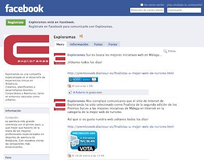 Captura de pantalla de la Pagina de Exploramas en Facebook