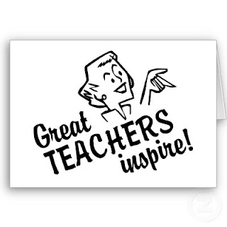 cartoon teacher with message that says great teachers inspire