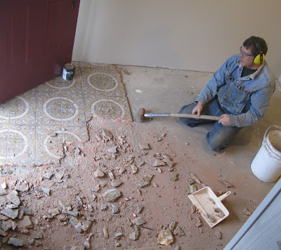 Our Extreme Home Makeover experience: Entryway tile progresses!