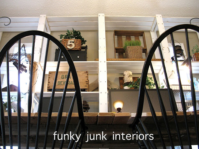 A pallet wood desk project, created from pallet wood, sawhorses and an old ladder. via http://www.funkyjunkinteriors.net/