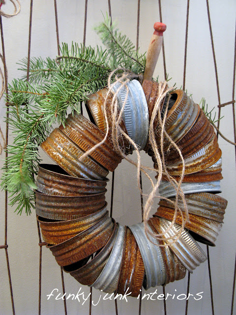 Make a canning jar lid wreath via Funky Junk Interiors