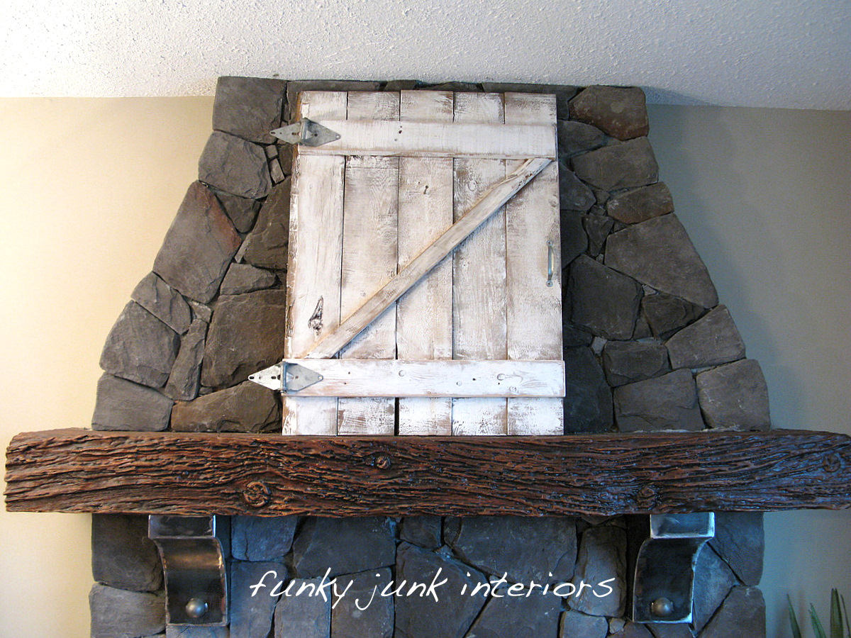 creating an old gate for the fireplace mantelfunky junk interiors