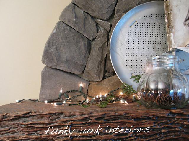 mini lights on mantel