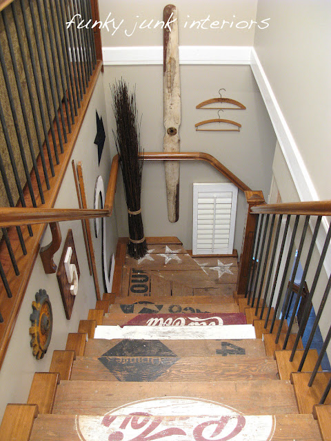 after / Painted wooden crate stairs via http://www.funkyjunkinteriors.net/