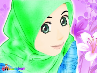 GAMBAR KARTUN ISLAMI Jilbab Dengan Kata Mutiara