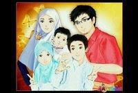 GAMBAR KARTUN Keluarga ISLAMI Dengan Kata Mutiara