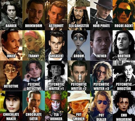 The Many Many Faces Of Johnny Depp Barber Bookworm artronut sea gangster noir pirate rogue agent joker tranny greaser groom father brother detective psychic detective pyschotic writer director chocolate maker chocolate eater tea drinker pot smoker pot dealer emo wolverine