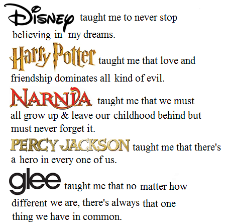 What They Taught Me - Disney, Harry Potter, Percy Jackson, Glee