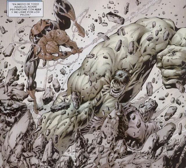 Hulk muerto de miedo ante el peligroso Spiderman