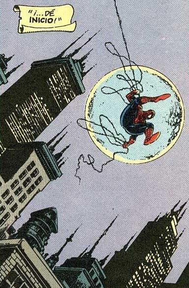 spiderman saltando en la noche