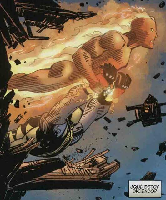Antorcha Humana sacando a Wolverine por la ventana