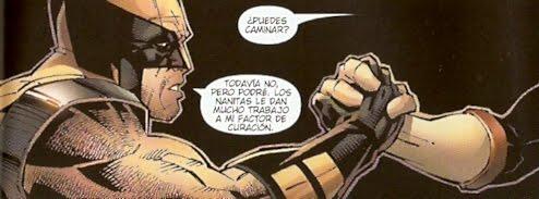 Wolverine echando mano de un colega