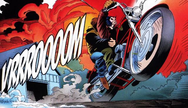 Wolverine en su Harley