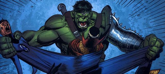 Hulk comprobando la elasticidad de Mister Fantástico
