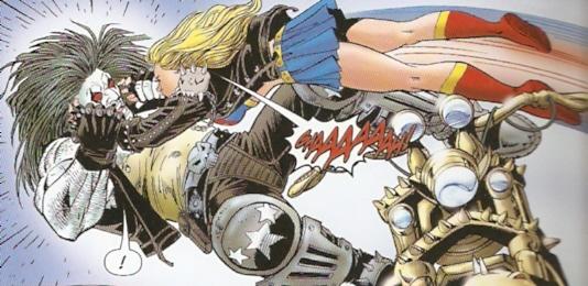 Supergirl saltándole al cuello a Lobo