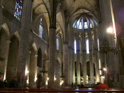 Inside the church of Santa Maria del Mar in Barcelona