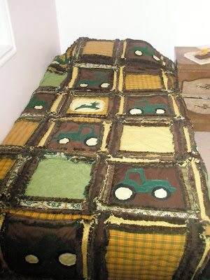 John Deere tractor twin size blanket with minkee or minky rag quilt