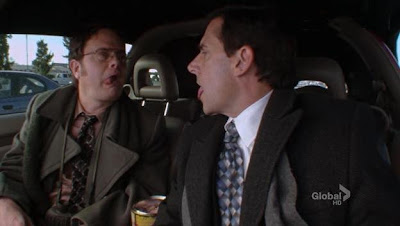 Dwight Schrute and Michael Scott practicing their licking lips secret signal