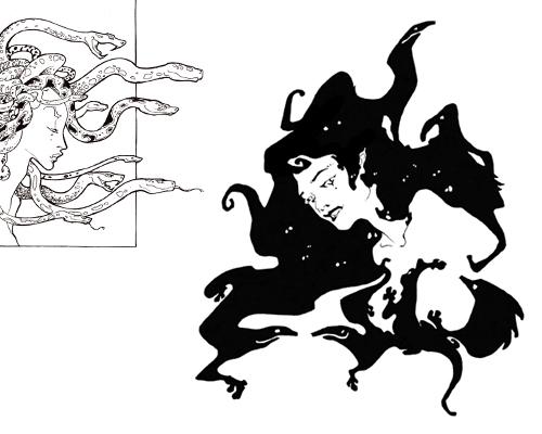 méduse et femme ombre