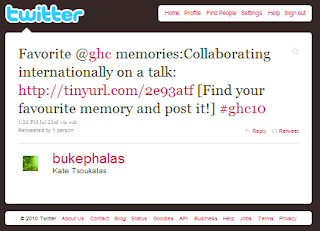 screenshot with link to Twitter post of a favorite GHC memory