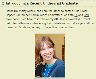 screenshot from Introducing a Recent Undergraduate post on the GHC blog
