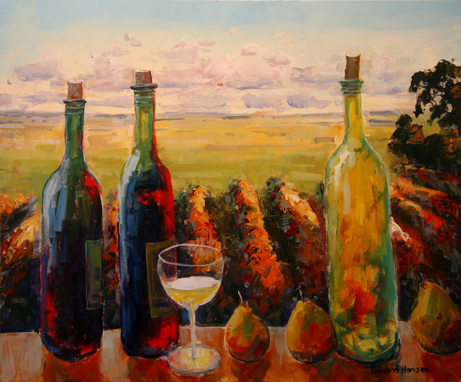 Richard hansen painting notes wine theme for Paint vino