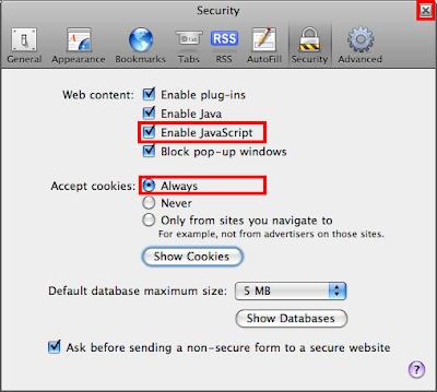 Enable JavaScript And Cookies On Safari 3.1.2 (525.21) For Windows