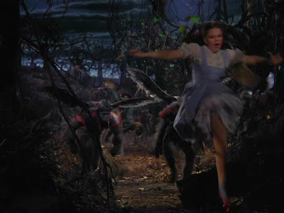 Wizard of Oz:  the flying monkeys chase Dorothy