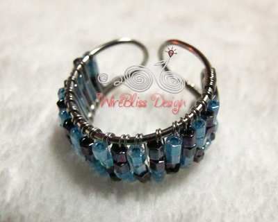 Japanese Seed Beads, Adjustable Wire Wrapped Ring ~ WireBliss