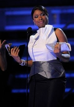 Jennifer Hudson accepts the award for best R&B album (AP Photo/Mark J. Terrill)