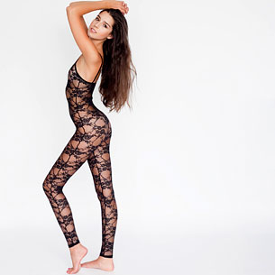 Nylon Spandex Stretch Floral Lace Unitard