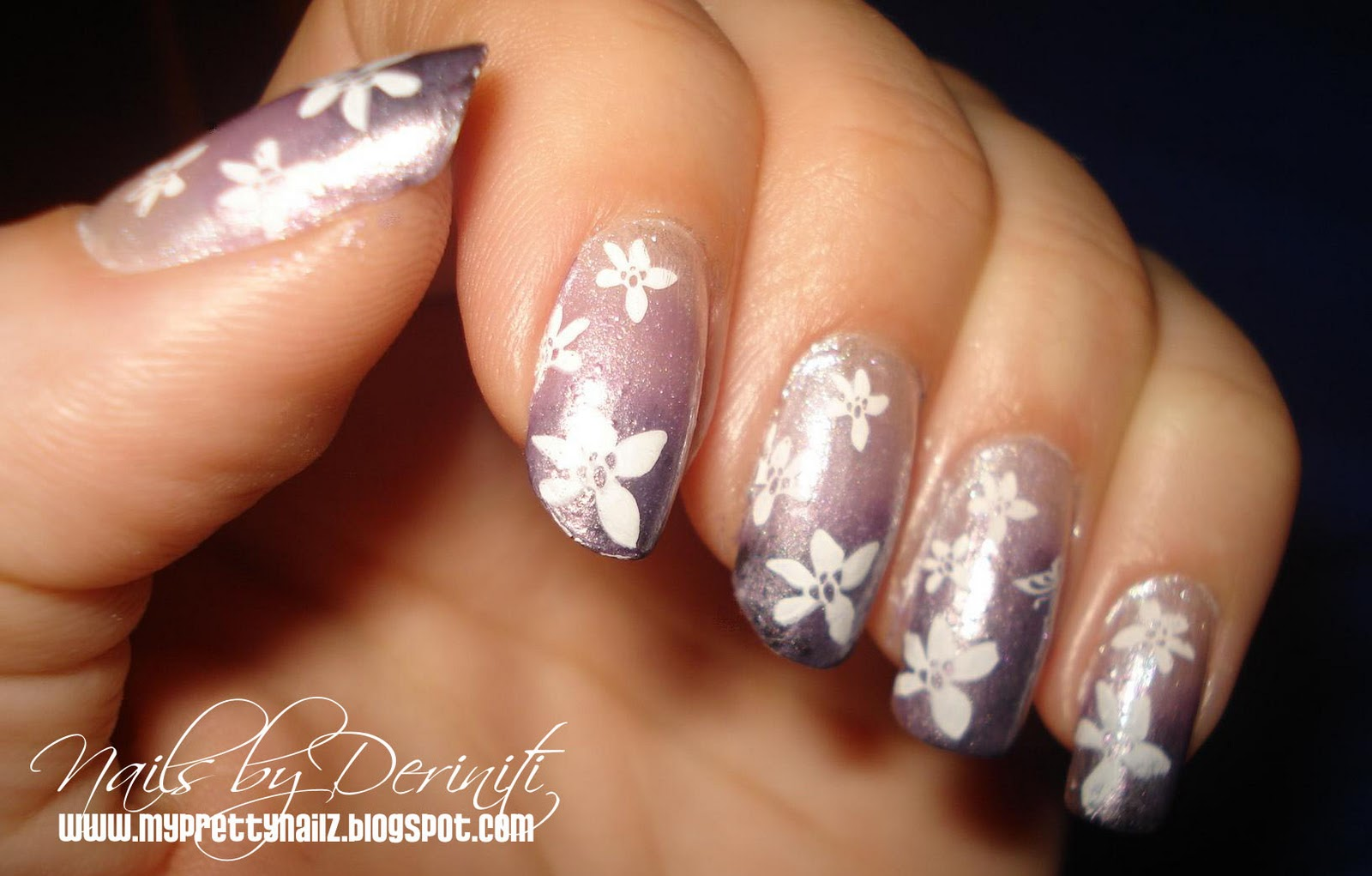 My Pretty Nailz: Purple Ombre Konad Nail Art Stamping Design ...