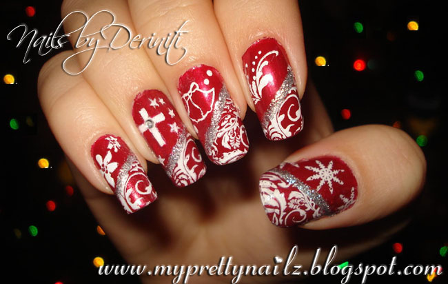 BM04, BM13, BM14, BM21, M57 - Konad White SP, Wet n'Wild Jezebel, Kiss Nail  Art Paint Silver - My Pretty Nailz: It's Beginning To Look A Lot Like Christmas Nails