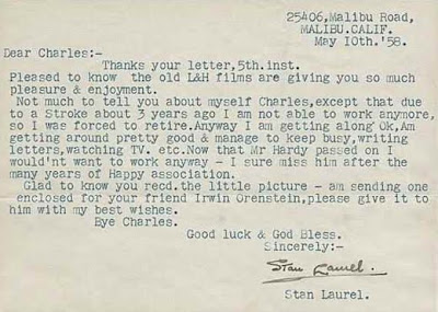 Note from comedian Stan Laurel to a fan - via Mike Lynch Cartoons, via Letters of Note